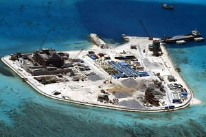 An aerial view of construction at Mabini Reef by China, in the disputed Spratley Islands, in the south China Sea.