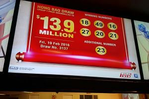 The winning numbers in Friday's $13.9 million Toto Hongbao Draw.