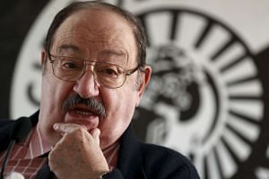 Italian writer Umberto Eco posing during the presentation of his novel The Cemetery Of Prague in Madrid on Dec 13, 2010.