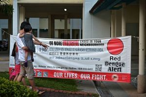 A banner showing the number of dengue cases at hot spots in Tampines Avenue 4.