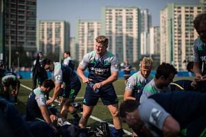 Otago Highlanders loose forward James Lentjes (centre) and his teammates preparing for a training session in Hong Kong on Feb 4, 2016.
