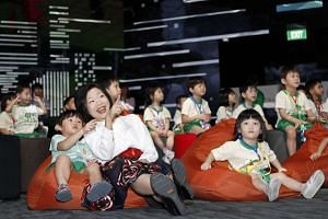 Students from Ichiban Montessori Preschool with Miss Sim Ann, Minister of State for Culture, Community and Youth.