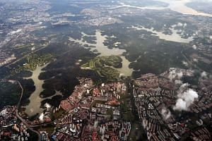 An aerial view of the Singapore central catchment area.