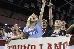 Ms Maree Miller cheering as Mr Trump spoke to supporters at a rally at Valdosta State University in Georgia on Monday. Analysts say the tycoon is picking up many working-class voters, the same demographic that Democratic candidate Hillary Clinton is