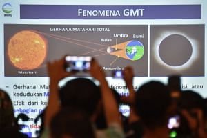 Members of the media at the press briefing by the Indonesian Agency for Meteorological, Climatological and Geophysics about the March 9 total solar eclipse, on Feb 11, 2016.