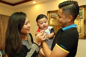 Ms Farah Tan with her husband Mohamed Nurizzat and their four-month-old son Mohamed Zyeaad. Zyeaad comes from the Arabic name Ziyad, which means abundance.