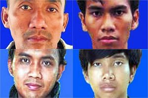 (Clockwise from top left) Untung Sugema Mardjuk. Mukhlis Khoirur Rofiq, Risno and  Muhammad Mufid Murtadho.