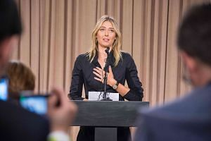 Maria Sharapova speaks at a press conference in Los Angeles, California, on March 7, 2016.