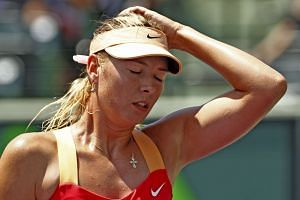 Maria Sharapova reacts during the Sony Ericsson Open tennis tournament in Key Biscayne, Florida, on March 31, 2012.