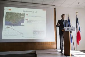 Arnaud Desjardin, deputy head of the investigations unit dedicated to the Germanwings crash at BEA presents the final report on the Germanwings air crash at the BEA headquarters in Le Bourget, France on March 13, 2016.