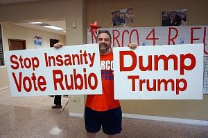 Mr Baez standing outside the early voting station at Coral Gable Library, giving out bumper stickers and fliers. With him is his wife, Teresa Mr Andrew Garcia, 58, a business owner, at the Marco Rubio campaign office in Miami.