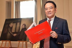 Retiree Vincent Chua's The Singapore Story features oil paintings of Mr Lee Kuan Yew from an exhibition held last year. About 1,000 visitors requested the works to be put into a book.
