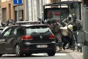 Footage online said to show the moment of Salah Abdeslam's arrest.