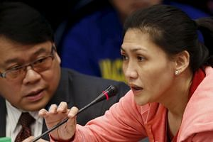 Ms Maia Santos Deguito (right) testifies during a Senate hearing of money laundering involving the theft of $81 million from the US account of the Bangladesh Bank, on March 17, 2016.