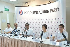 Mr Murali (centre) being introduced as the PAP candidate for the upcoming by-election in Bukit Batok constituency. Also at the press conference were (from left) Senior Minister of State for Home Affairs and National Development Desmond Lee, DPM Tharm