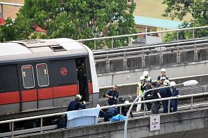 The scene of the incident near the Pasir Ris MRT Station yesterday, in which two SMRT staff were killed.