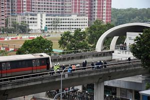 The scene of the accident on the train track near Pasir Ris MRT on March 22, 2016.