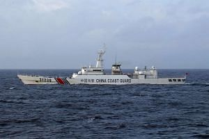 A Chinese Coast Guard boat near the disputed Senkaku/Diaoyu islands in the East China Sea.