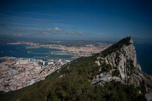 The Rock of Gibraltar with Spain in background.