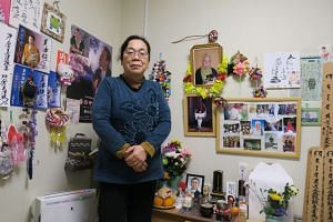 Retiree Mitsue Masukura, 63, who lives in temporary housing quarters in Fukushima city.