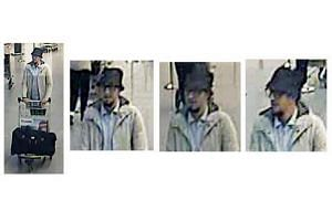 The man in a light jacket was seen pushing a trolley with a suitcase on it in surveillance camera footage.