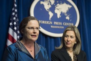 Ms Laura Holgate (left), senior director for weapons of mass destruction terrorism and threat reduction at the National Security Council, and Deputy Energy Secretary Elizabeth Sherwood-Randall speaking  in Washington, DC on March 29, 2016 about the N