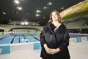 Zaha Hadid in 2011 inside the Aquatics Centre she designed for the 2012 Olympic Games in London.