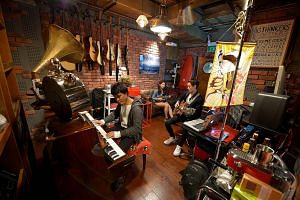 Vibes, a band of part-time musicians, have been jamming at Wee Lee for more than two decades. Wee Lee Music Centre's owner Sam Ng. TNT studios, one of the oldest jamming studios in town, and its owner Ah Boy. The Music Parlour's owners Justin Mendoza