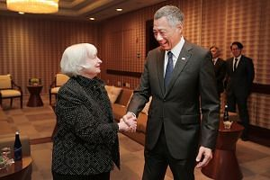 PM Lee meeting US Federal Reserve chair Janet Yellen in Washington, DC, on Thursday. He is currently in the US on a working visit.