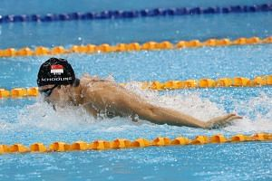 Joseph Schooling swimming the butterfly leg for the Men's 4x100m medley relay final at the 28th SEA Games.