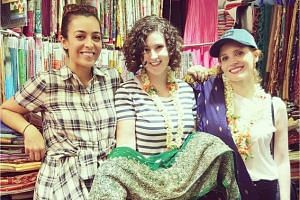 Jessica Chastain (right) went shopping at a sari shop in Little India.