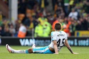 Newcastle United's Serbian striker Aleksandar Mitrovic reacts after the final whistle.