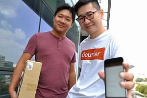 Co-founded in 2014 by Temasek Polytechnic graduates Mr Yee (far left) and Mr Wong, Qourier is an on-demand service that connects customers to crowdsourced couriers.