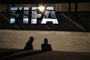 A Fifa logo at the Fifa headquarters in Zurich.