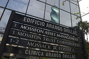 A sign outside the building where Panama-based Mossack Fonseca law firm offices are located in Panama City.