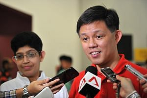 Minister in the Prime Minister Office Chan Chun Sing visiting Geylang Serai division on April 3, 2016.