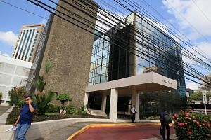 The building housing the office of Panamanian law firm Mossack Fonseca in Panama City, Panama, on April 4, 2016.