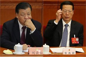 China's propaganda czar Liu Yunshan (left) and executive vice-premier Zhang Gaoli have been linked to alleged offshore dealings through their relatives.