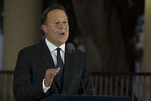 Panama's President Juan Carlos Varela speaking at a news conference on April 6.