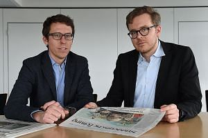 COLLABORATIVE WORK: Above: German journalists Frederik Obermaier (left) and Bastian Obermayer, co-authors of the Panama Papers investigation.