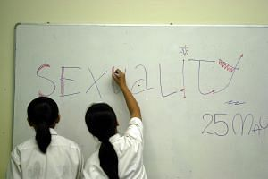 Two students getting ready for their sex education class.