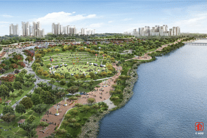 An artist's impression of the enhanced greenery in Woodlands Waterfront.