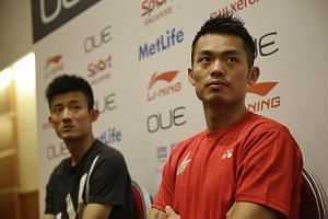 Meeting the media ahead of the OUE Singapore Open, world No. 1 Chen Long (far left) says he finds the draught at the Indoor Stadium a hindrance, while double Olympic champion Lin Dan is not taking anything for granted for London 2012.