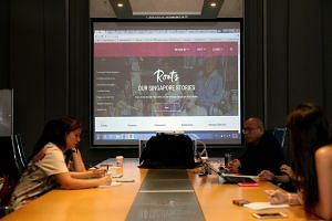 Media viewing of a new heritage portal roots.sg by National Heritage Board, featuring heritage areas, national monuments, and artefacts.