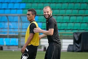 Tampines Rovers captain Fahrudin Mustafic (right) and Sufian Anuar at a training session at Jalan Besar Stadium yesterday. Mustafic, banished by Bernd Stange, is hoping to earn a national recall.