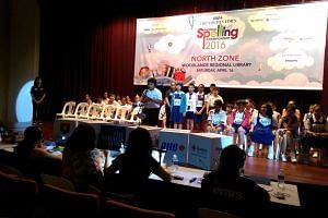 Spellers of the North Zone at Woodlands Regional Library as the round commences.