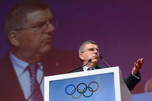 President of the International Olympic Committee (IOC) Thomas Bach delivers a speech during the opening ceremony of the SportAccord Convention 2016 on April 19, 2016 in Lausanne.