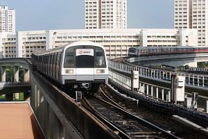 Trains waiting to move into Jurong East MRT station.