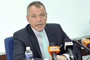 Outgoing Malaysia Airlines Chief Executive Officer Christoph Mueller speaking during press conference at Kuala Lumpur International Airport in Malaysia, on June 1, 2015.
