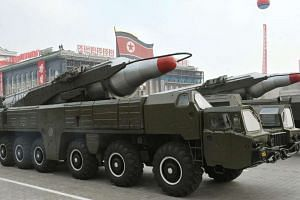 A 'Musudan' missile displayed during a military parade in Pyongyang, North Korea, in a photo provided  by the North Korean Central News Agency (KCNA).